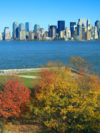 Lower Manhattan seen from Liberty Island in autumn, New York Stock Photo