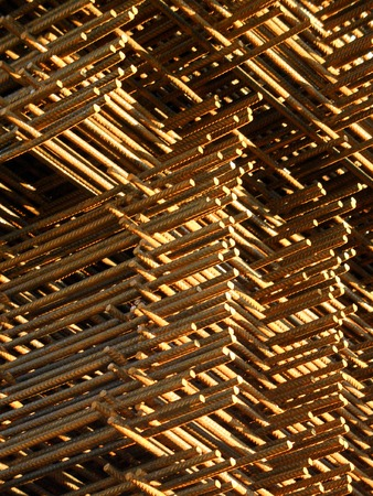 Stacked reinforcing rods, rusty, angled closeup Stock Photo - 1385383