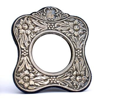 Antik Silber Rahmen, isoliert auf weißem Hintergrund, Leerzeichen für benutzerdefinierte Bild Lizenzfreie Bilder