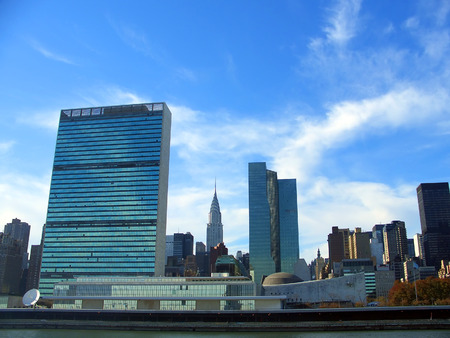 east river: UN Headquarters from East River, Manhattan, New York Stock Photo