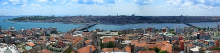 house of prayer: Golden Horn panoramic view from Galata tower, Istanbul Stock Photo