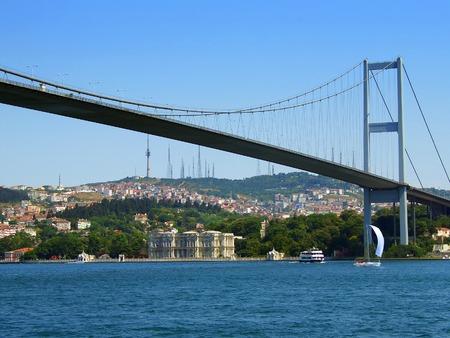 Bosphorus bridge view from water level 스톡 콘텐츠