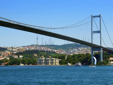 water level: Bosphorus bridge view from water level Stock Photo
