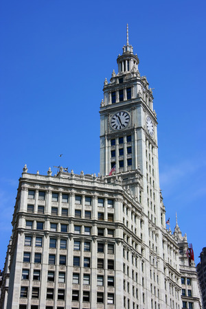 magnificent mile: Wrigley building clock tower in downtown Chicago