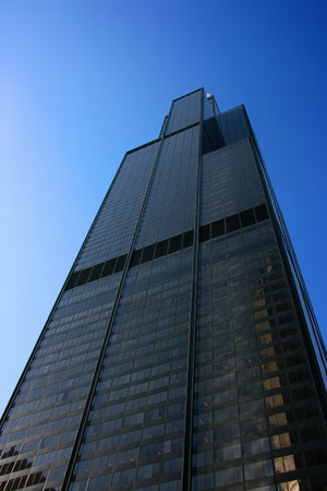 sears: Sears tower seen from below over a blue sky Editorial