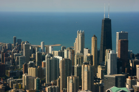 Chicago aerial view from Sears tower looking north over Hancock center 스톡 콘텐츠