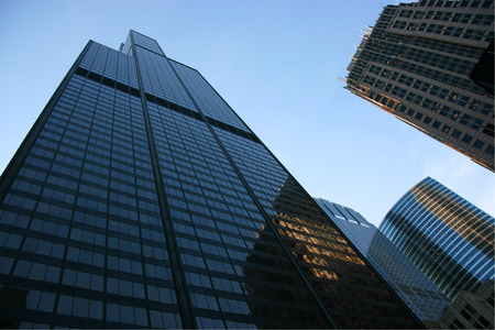 the sears tower: Sears tower seen from below at sunset Stock Photo