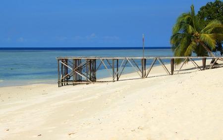 Sipadan island beach and pier, Sabah, Malaysia photo