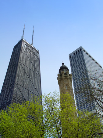 magnificent mile: Chicago water tower and Hancock center from below Stock Photo
