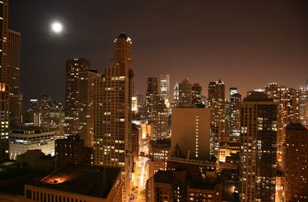 Chicago downtown aerial view by night