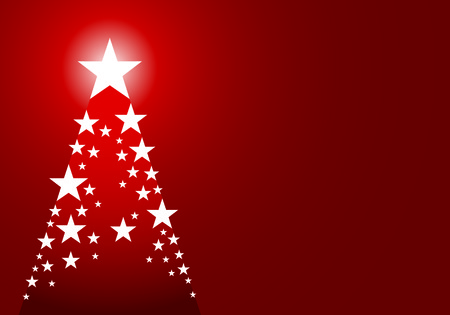 Red christmas background with tree made up of stars