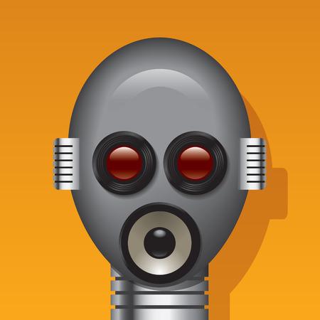 talking robot: Media robot con cabeza de lente, lodspeakers y micr�fonos en lugar de ojos, la boca, las orejas. Todos los elementos en capas separadas  Vectores