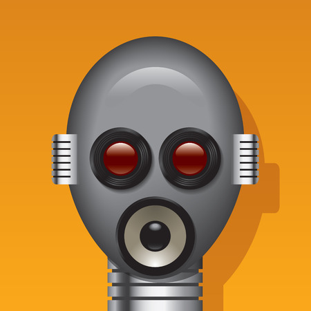 robot head: Media robot head with lens, lodspeakers and mics in place of eyes, mouth, ears. All elements on separate layers