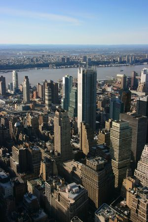 new york time: New York Times, la sede de torre en la construcci�n, abril de 2007 como se ve desde el Empire State Building