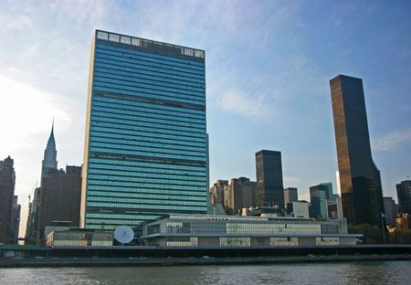 UN Headquarters from East River, Manhattan, New York Stock Photo