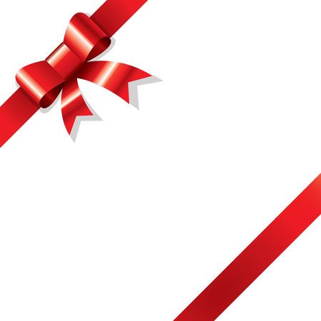 ribbon vector: Shiny red ribbon on white background corner