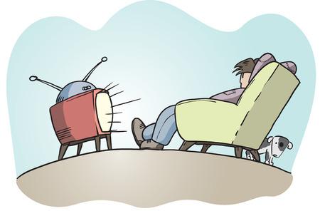 Lazy Guy Fernsehen, Hand gezeichnet Vektor
