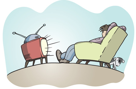 unhealthy living: Lazy guy watching tv, hand drawn vector