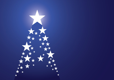 Blue christmas background with tree made up of stars