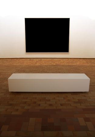 Contemporary museum gallery interior, big blank square panel on exposition with minimalistic bench in front of it, lighting is on the panel