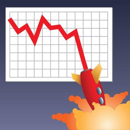 Business Zeile mit Rakete abstürzt down