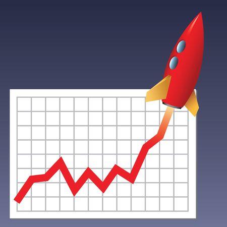 Business-Grafik mit einer Rakete steigen  Lizenzfreie Bilder