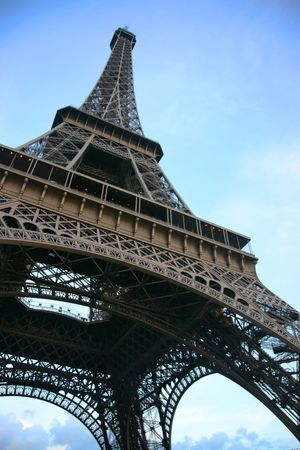 Eiffel tower seen from below against a blue sky Stock Photo - 3114411