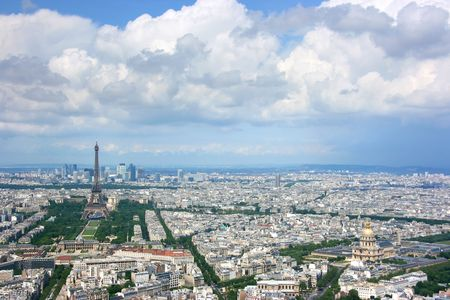Paris aerial view from Montparnasse tower, looking north west. Stock Photo - 3114418