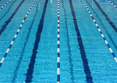 swimming race: Empty pool lanes seen from above Stock Photo