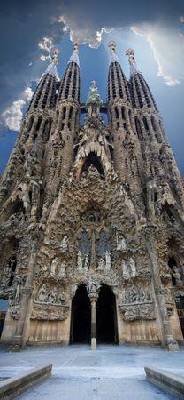 Sagrada Familia vertical panoramic view, Barcelona, Spain. HDR image.