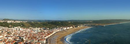 coast line: Beach panoramic view from the promontory in Nazarè, Portugal Stock Photo
