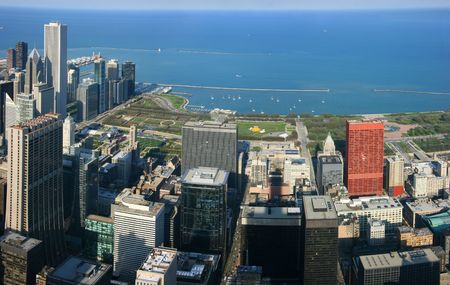 aon: Chicago Millennium Park aerial panoramic view from Sears tower