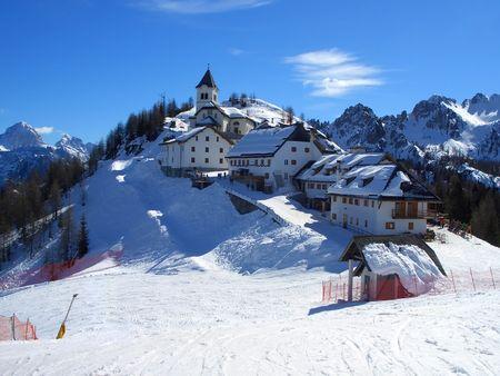 Dorf am Gipfel des Mount Lussari in Friaul, Italien