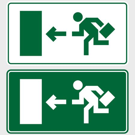 exit: Emergency exit sign with business man figure holding a briefcase