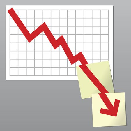 bottom line: Business chart with line exceeding bottom borders and going on over notes Stock Photo