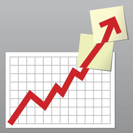 exceeding: Business chart with line exceeding top borders and going on over notes Stock Photo