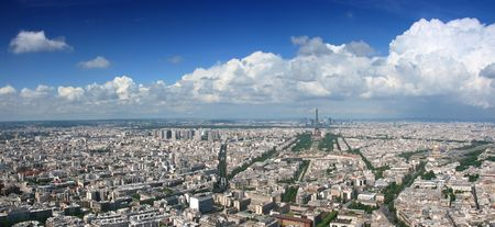 Paris aerial panoramic view from Montparnasse tower over Champs de Mars and Eiffel tower. photo