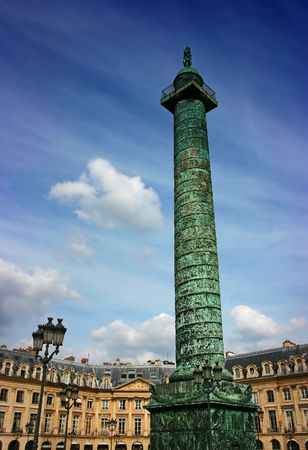 Napoleons Austerlitz column in Place Vendome, Paris photo