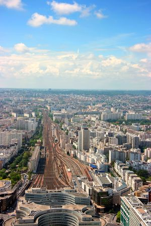 Aerial vertical view of Montparnasse railway station, Paris photo