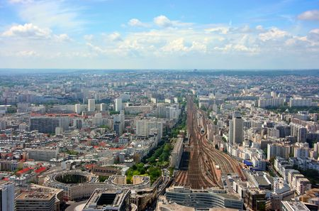 Aerial view of Montparnasse railway station, Paris photo