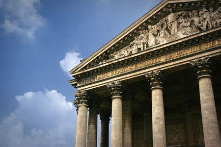 pediment: Detail of Pantheon pediment in Paris Stock Photo