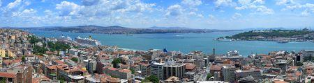 Bosporus-Panoramablick vom Galata-Turm, Istanbul, Türkei