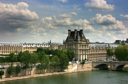 Right wing of Louvre Museum exterior seen from Orsay museum top