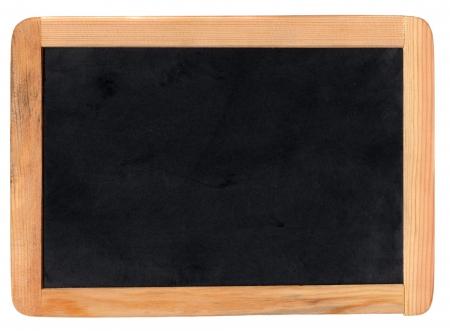 lavagna: Piccola scuola di legno bianco lavagna isolato su sfondo bianco