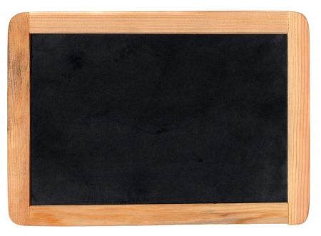 chalk writing: Small school wooden blank blackboard isolated on white background