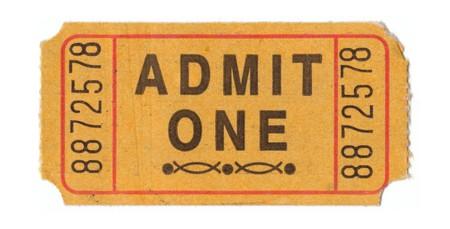 admit: Generic vintage admit one ticket close up