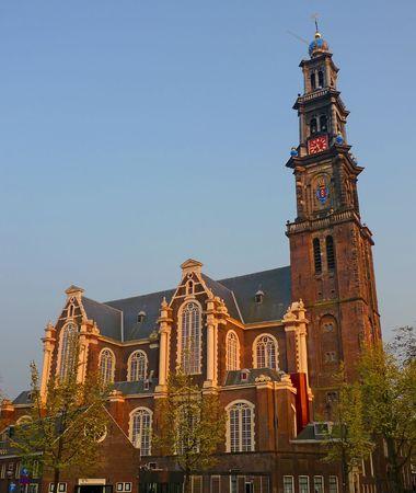 westerkerk: Western church (Westerkerk) at sunset, Amsterdam, Netherlands