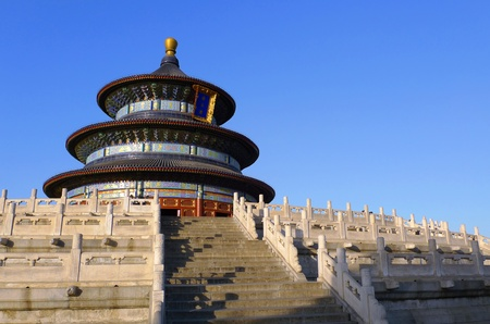 The Hall of Prayer for Good Harvests seen from south west at sunset in the Temple of Heaven Tiantan in Beijing, China Stock Photo