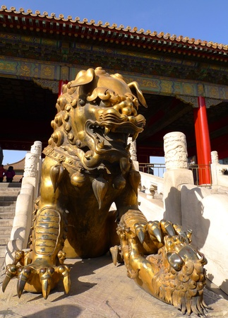 An imperial guardian lion  Shishi  in front of the gate of Heavenly Purity in the Forbidden City, Beijing, China  Stock Photo - 13444726