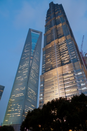 financial world: Shanghai World Financial Center and Jin Mao Tower in Pudong, Shanghai